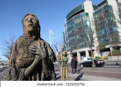 Dublin.Ireland-October 18, 2018 : The Famine statues, in Custom House Quay in the Dublin Docklands