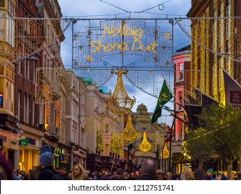 Dublin's Center is a winter evening decorated with lights for Christmas.DUBLIN, Ireland.December 17, 2017.