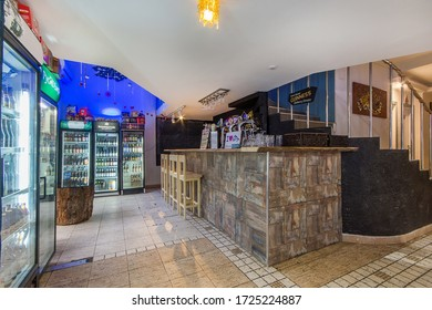 DUBNA, December  26, 2019: Bar counter. Beverage fridge and commercial equipment
