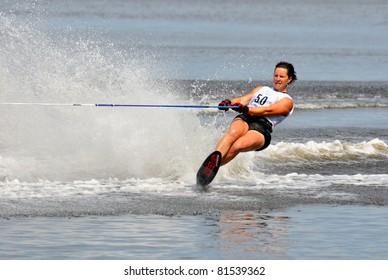 DUBNA, MOSCOW REGION/RUSSIA – JULY 23: Truelove Karen (USA), Waterski World Championship, Ladies Slalom Final on July 23, 2011 in Dubna, Russia.