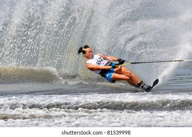 DUBNA, MOSCOW REGION/RUSSIA – JULY 23: Arthur Nicole (Great Britain), Silver medal winner, Waterski World Championship, Ladies Slalom Final on July 23, 2011 in Dubna, Russia.