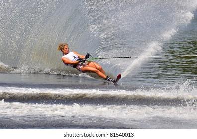 DUBNA, MOSCOW REGION/RUSSIA – JULY 23: Dodd Breanne (Canada), Waterski World Championship, Ladies Slalom Final on July 23, 2011 in Dubna, Russia.