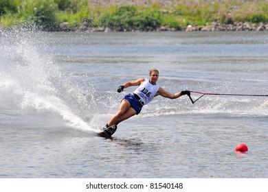 DUBNA, MOSCOW REGION/RUSSIA – JULY 23: Jaquess Regina (USA), Bronze medal winner, Waterski World Championship, Ladies Slalom Final on July 23, 2011 in Dubna, Russia.