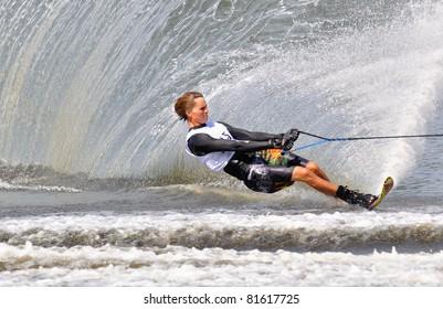 DUBNA, MOSCOW REGION/RUSSIA – JULY 24: Smith Nate (USA), Bronze medal winner, Waterski World Championship, Men Slalom Final on July 24, 2011 in Dubna, Russia.
