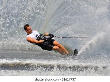 DUBNA, MOSCOW REGION/RUSSIA – JULY 24: Mcclintock Jason (Canada), Waterski World Championship, Men Slalom Final on July 24, 2011 in Dubna, Russia.