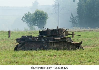 DUBOSEKOVO, RUSSIA - JULY 13:  a BT-5 tank wreck stands in the field during Field of Battle military history festival on July 13, 2013 in Dubosekovo, Russia