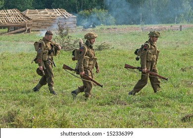 DUBOSEKOVO, RUSSIA - JULY 13:  military history club members in British 51st Highland Division uniform walk during Field of Battle military history festival on July 13, 2013 in Dubosekovo, Russia