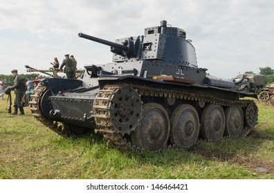 DUBOSEKOVO, RUSSIA - JULY 13: Pz.38 tank stands on the field during Field of Battle military history festival on July 13, 2013 in Dubosekovo, Russia