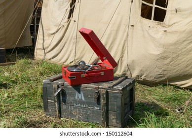 DUBOSEKOVO, RUSSIA - JULY 13: a red gramophone stands on the ammo box in the Red Army reenactors' camp during Field of Battle military history festival on July 13, 2013 in Dubosekovo, Russia