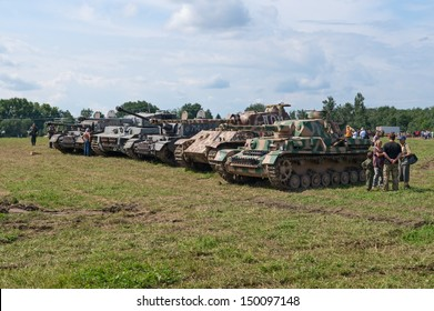 DUBOSEKOVO, RUSSIA - JULY 13: WWII German battle tanks stand in a line during Field of Battle military history festival on July 13, 2013 in Dubosekovo, Russia