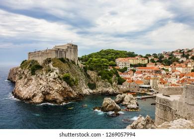 Dubrovnik ancient fortress sea view, Croatia