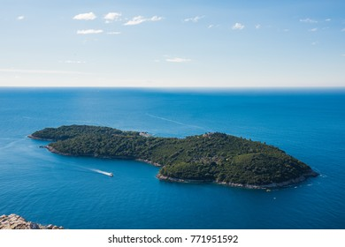 Dubrovnik is a city in Southern Croatia fronting the Adriatic Sea. We can see the whole Lokrum Island from  the top of SRD.  Lokrum Island is located nearby Dubrovnik old city.
