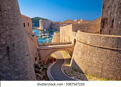 Dubrovnik city walls and harbor view, UNESCO world heritage site in Dalmatia, Croatia
