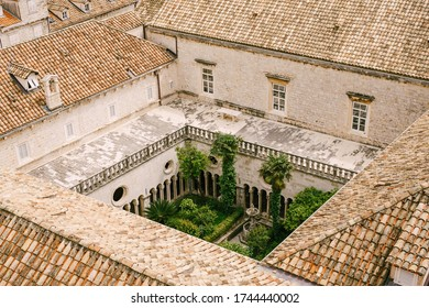 Dubrovnik, Croatia - 04 may 2016: The inner courtyard of the Franciscan monastery in Dubrovnik, photographed from the walls of the old city.