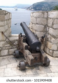 dubrovnik, Croatia, 06/06/2016 Dubrovnik old town croatia, Cannon aiming at a criuse ship