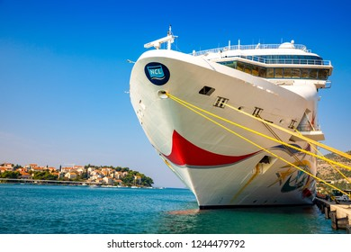 Dubrovnik, Croatia - 20.10.2018: Cruise ship Norwegian Star is docked in port of Dubrovnik in Croatia