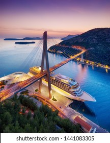 Dubrovnik, Croatia. Aerial view at the cruise ship during sunset. Adventure and travel.  Landscape with cruise liner on Adriatic sea. Luxury cruise. Travel - image