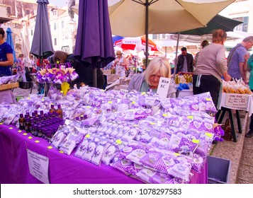DUBROVNIK, CROATIA - APR 14, 2018 - Selling fresh lavender in the old city market of Dubrovnik, Croatia
