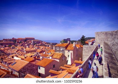 DUBROVNIK, CROATIA - APR 14, 2018 -  Rooftops of the old city from the city walls of  Dubrovnik, Croatia