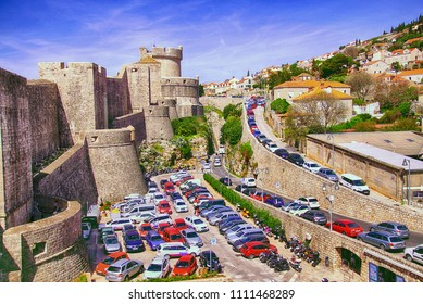 DUBROVNIK, CROATIA - APR 14, 2018 - Parking lots outside the Medieval walls of old city of Dubrovnik, Croatia