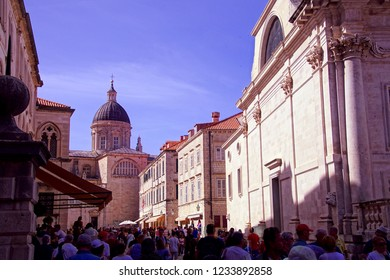 DUBROVNIK, CROATIA - APR 14, 2018 - Tourists exploring the old city of Dubrovnik, Croatia