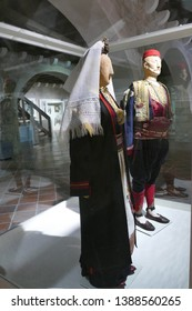 DUBROVNIK, CROATIA - APR 26, 2019 - Traditional clothing of Croatian villages from the 19th century,Ethnographic Museum, Dubrovnik, Croatia
