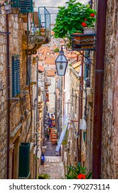 DUBROVNIK, CROATIA - APRIL 05, 2017: Dining Areas along narrow streets In Old Town Dubrovnik.