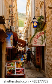 DUBROVNIK, CROATIA - AUG 21, 2014: Architecture of the  Old town of Dubrovnik, Croatia. Dubrovnik is a UNESCO World Heritage site
