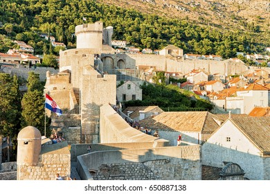 Dubrovnik, Croatia - August 19, 2016: Fort Minceta and people at the Old City Walls in the Old town of Dubrovnik, Croatia.