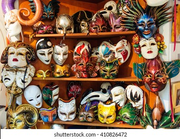 DUBROVNIK, CROATIA - AUGUST 31, 2009: Collection of colorful traditional hand painted Venetian carnival leather masks