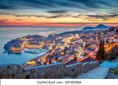Dubrovnik, Croatia. Beautiful romantic old town of Dubrovnik during sunset.