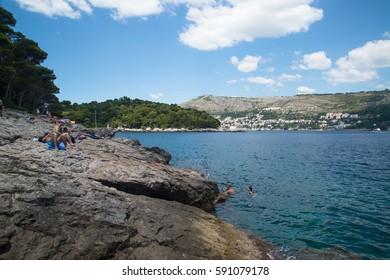 Dubrovnik, Croatia, circa july 2016: Beach on the Lokrum island close do Dubrovnik.