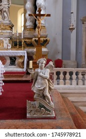 DUBROVNIK, CROATIA - DECEMBER 01: Angel on the altar in Franciscan church of the Friars Minor in Dubrovnik, Croatia on December 01, 2015.