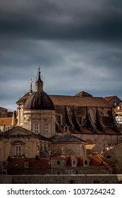 DUBROVNIK, CROATIA - JANUARY 11, 2018: A view in the old town early morning in Dubrovnik, Croatia on January 11, 2018