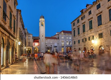 DUBROVNIK, CROATIA - July 14, 2015: Street scene along Stradun (or Placa) in the old town of Dubrovnik, Croatia at night.