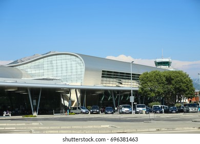 DUBROVNIK, CROATIA - JULY 20, 2017 : A view of the new airport building with air traffic control tower in Dubrovnik, Croatia.
