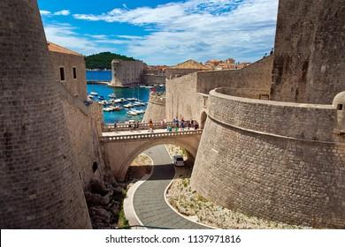 Dubrovnik, Croatia - July, 2018: View of Dubrovnik city wall in Croatia