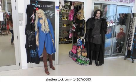 Dubrovnik / Croatia - July 23, 2016: Interior of Dubrovnik Airport. Figures model Daenerys Targaryen and Jon Snow characters from the series Game of Thrones.