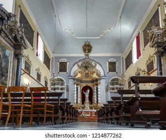 Dubrovnik, Croatia, July 29, 2018: Main altar of the Franciscan Church and Monastery in Dubrovnik, Croatia with the resurrected Christ statue created by the sculptor Celia from Ancona in 1713.