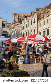 Dubrovnik, Croatia, July 29, 2018: Gunduliceva poljana, Dubrovnik's main market, still plays a vital role in town's daily life, both in terms of shopping and general day-to-day social interaction.