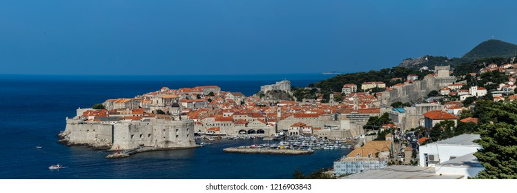 Dubrovnik, Croatia, July 29, 2018: Dubrovnik, Croatia, known as the Pearl of the Adriatic, one of the most prominent tourist destinations in the Mediterranean, a UNESCO World Heritage site.