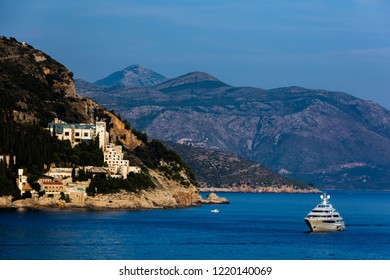 Dubrovnik, Croatia, July 29, 2018: Abandoned 5-star Hotel Belvedere, opened in 1985 as one of the most luxurious hotels on the Adriatic, destroyed in 1991 by the Serbian attack on Dubrovnik.