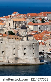 Dubrovnik, Croatia, July 31, 2018: Fort of St. John in Dubrovnik, Croatia, dates back to the 16th century, guards the entrance to Dubrovnik's Old Harbor.