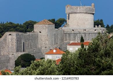 Dubrovnik, Croatia, July 31, 2018: Fort Minceta in Dubrovnik, Croatia, originated in 1319, rebuilt in its current form in 1464.