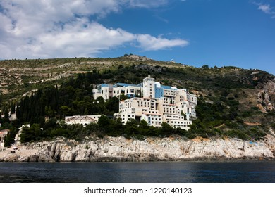 Dubrovnik, Croatia, July 31, 2018: Abandoned 5-star Hotel Belvedere, opened in 1985 as one of the most luxurious hotels on the Adriatic, destroyed in 1991 by the Serbian attack on Dubrovnik.
