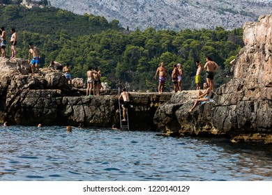 Dubrovnik, Croatia, July 31, 2018: Lokrum island in the Adriatic Sea, near the city of Dubrovnik, Croatia. Day trips to the island are very popular among the visitors to Dubrovnik.