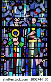 DUBROVNIK, CROATIA - JUNE 05, 2014: St. Peter and Paul, stained glass at St. Blaise Church in Dubrovnik, Croatia