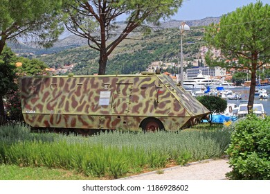Dubrovnik, Croatia - June 13, 2010: Armoured Vehicle Majsan War Memmorial in Dubrovnik, Croatia.