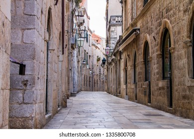 DUBROVNIK - CROATIA - MARCH 03 , 2019 : Old narrow street in Dubrovnik , Croatia