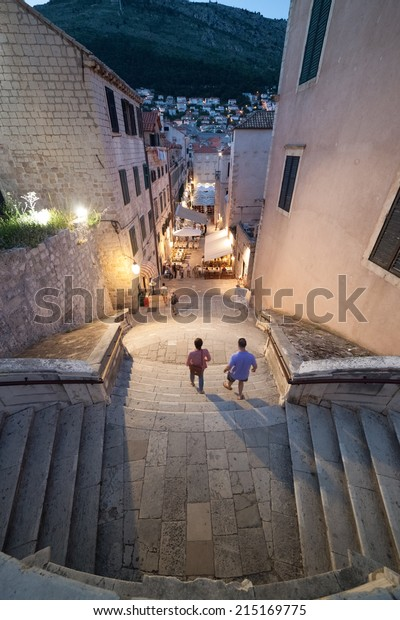 DUBROVNIK, CROATIA - MAY 28, 2014: Aerial view of the stairs leading to Jesuit chuch in old town Dubrovnik.